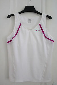 NIKE Fit Dry Athletic Womens Stretch Sleeveless Tank w Bra Running Top Shirt  M