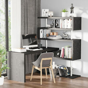 Hollow Core Hobby Corner Desk Computer Table Rotating 4 Tier Shelf Combo Black