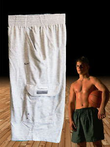 NEW NIKE Men's Fit-Dry Lightweight Fleece Cotton Gym Fitness Shorts Light Grey M