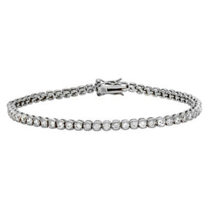Womens 925 Sterling Silver Rhodium Plated Round CZ Tennis Bracelet