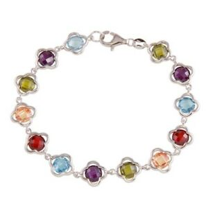 Womens 925Sterling Silver Rhodium Plated Multi-Color Flower Bracelet