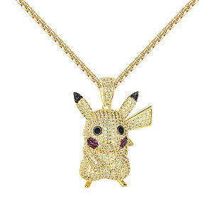 Cartoon Character Animal Pendant 14k Gold Finish Canary Simulated Diamonds Chain