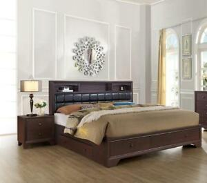 Dark Walnut Finish Storage Queen Size Bedroom Set 3Pcs NOMA Global USA