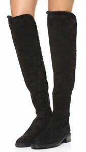 Brand NIB Stuart Weitzman Shearling Parka Over the Knee Suede Boot Size 8M Black