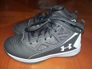 Boys Youth Under Armour High Top Tennis Shoes Size 1Y Black Gray
