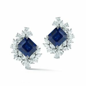 35.23 ct Natural Perfectly Matched  Sapphire  Diamond Platinum earrings GRS CERT