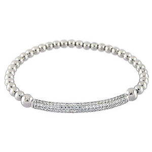 Womens 925 Sterling Silver CZ Stretching Bead Micro Pave Rhodium 4mm Bracelet