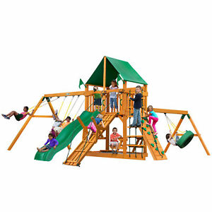 Gorilla Playsets Frontier Swing Set With Natural Cedar Posts And Deluxe Green
