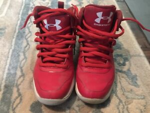 Boys Girls Kids Youth 12 (Run Small ) Red Basketball Shoes Under Armour