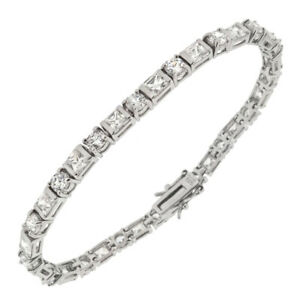 Womens 925 Sterling Silver CZ Princess Round Tennis 7