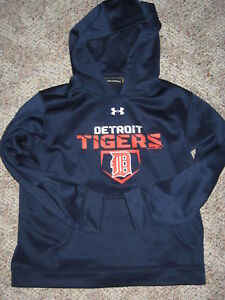 Under Armour DETROIT TIGERS Tiger Blue Orange Boys Hoodie MEDIUM 8 10