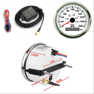Car Boat Moto MPH GPS Speedometer Odometer 200MPH with Backlight 85mm 12V24V