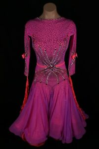 Ballroom standard dance dress competition Pink Coral Pre-owned couture Chrisanne