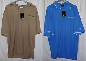 2 Nike Dri-FIT Classic Beige & Pacific Blue Tipped Polo Shirts Sz XXL NWT