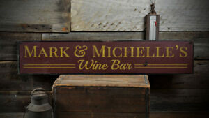 Custom Winery Wedding Wine Bar Sign -Distressed Wooden Sign ENS1001171