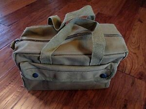 HEAVY DUTY GREEN MILITARY STYLE MECHANICS HARD BOTTOM TOOL BAG BRASS ZIPPER