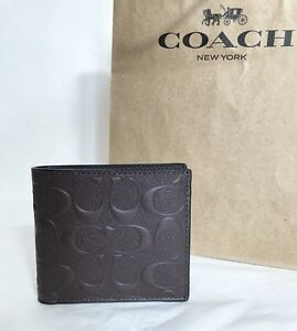 NWT Coach F75363 Men's Bifold Coin Pocket Signature Wallet Leather Mahogany $175