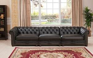 Top Grain Leather 3 Pcs Sectional Sofa Hand Rubbed Classic Amax Leather Madison