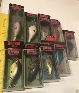 9 Lures Rapala All Sealed Mix Lot Baits Rippin Raps DT-4 Thug Flat Crankbaits