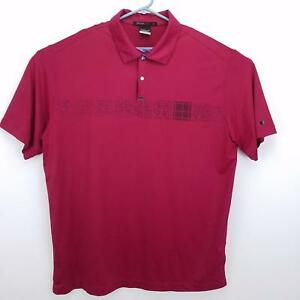 Tiger Woods Collection Mens Red Dry - Fit Short Sleeve Golf Polo Shirt - Size L