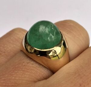 Antique 14k Solid Yellow Gold 10.0ct Bullet Cabochon Green Emerald Men's Ring