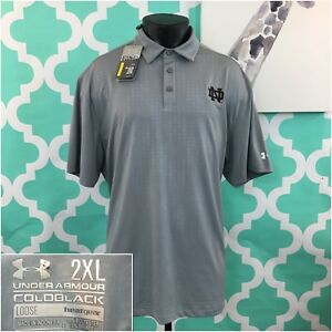 NWT UNDER ARMOUR 2XL MENS COLD BLACK LOOSE FIT POLO SHIRTS NOTRE DAME MSRp$69.99