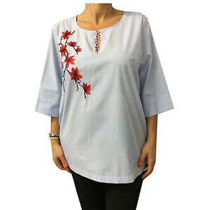 MARINA SPORT by Rinaldi women's shirt striped white baby blue with embroidery