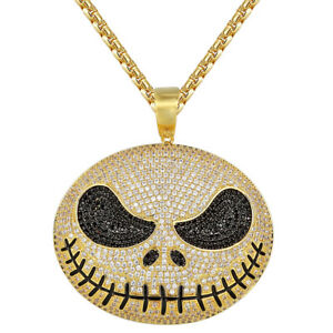 Cartoon Skeleton Head Pendant Gold Finish Iced Out Black Simulated Diamonds