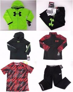 9 PC UNDER ARMOUR Lot boys size 4 Tops Shirts Hoodie Track Pants Socks NEW