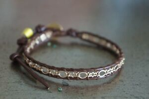 NEW Chan Luu Men Women Gold Vermeil Chain & Brown Leather Wrap Bracelet UNIQUE
