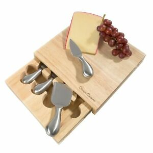Wooden Cutting Board Cheese Block with Tools Fork Knife Spreader Great Gift
