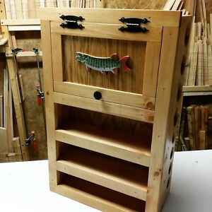 FLY ROD & REEL STORAGE CABINET smallmouth musky WARM WATER FISH bluegill crappie