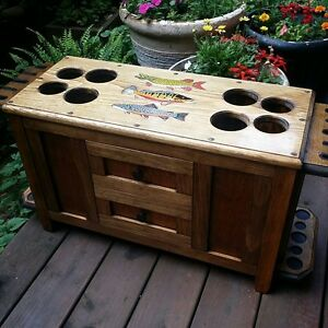 ROD & REEL CABINET  with SIDE ROD RACKS fly fishing rods WARMWATER reels lures