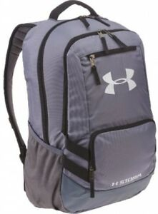 Under Armour Storm Hustle Backpack Gray Storage Pockets Water Resistant School