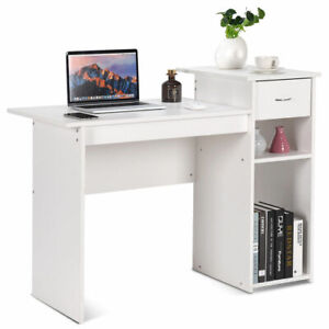 Computer Desk PC Laptop Table w Drawer and Shelf Home Office Furniture White
