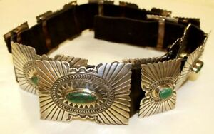 STUNNING VINTAGE NAVAJO STERLING & TURQUOISE CONCHO BELT MUST SEE! #2