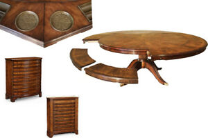 Round to Round Walnut Pedestal Table with Dining & Poker Leaves