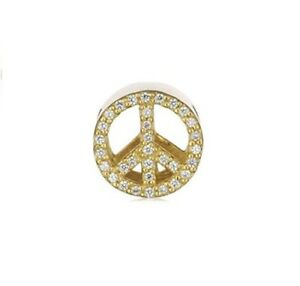 New Genuine Story Sterling Silver gold plated CZ set PEACE charm 5208896 £69 GBP 34.50