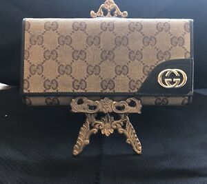 NEW GUCCI  WOMEN'S CANVAS & LEATHER  GG  GUCCISSIMA TRI-FOLD Wallet BROWN-BEIGE
