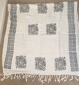 AUTHENTIC~TURKISH Peshtemal BATH TOWEL~GEOMETRIC~NaturalBlack~100% COTTON~Rare