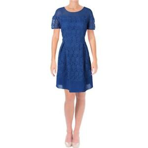 Anne Klein Womens Blue Lace Fit & Flare Short Sleeve Cocktail Dress 12 BHFO 9969
