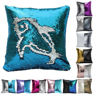 2/4/8pcs Reversible Mermaid Pillow Sequin Cover Glitter Sofa Couch Cushion Case