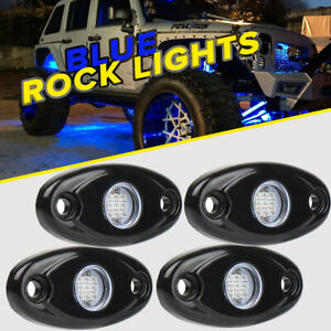 4PCS BLUE 9W LED Rock Light Pods Trail Under Offroad Truck Driving Rig Lamp $20.99
