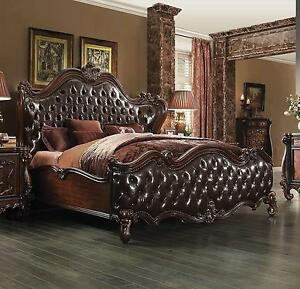 Acme  Versailles 21117EK Dark Brown Sleigh Bed King Classic