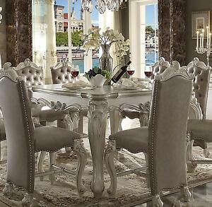 Acme Furniture White Versailles Dining Room Set Classic 7pcs Traditional