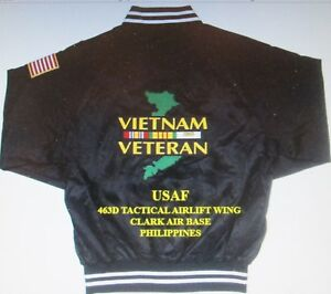 463D TACTICAL AIRLIFT WING*VIETNAM* CLARK AB PHILIPPINES *2-SIDED SATIN JACKET