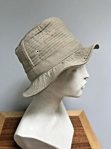 Vintage LL. Bean KHAKI Script Logo Ribbed Bucket Fishing Hat Men's Women's 21.5