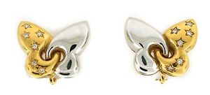 Cute DIAMOND YELLOW WHITE GOLD BUTTERFLY EARRINGS by BULGARI Authentic Signed