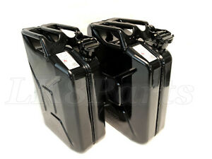 Set of 2 Wavian Steel Jerry Can Black 3010 Can 20L  5 Gallon NATO Spec