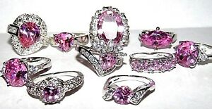 HUGE SELECTION OF PINK WHITE TOPAZ RINGS SIZES amp; STYLE CHOICE NEW IN GIFT BOX